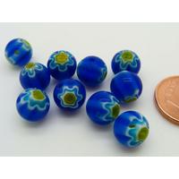 Perles verre Millefiori rondes 8mm Bleu Foncé fleur Jaune par 10 pcs