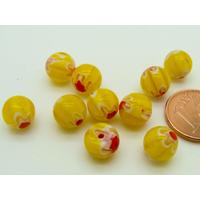 Perles verre Millefiori rondes 8mm Jaune fleur Rouge par 10 pcs