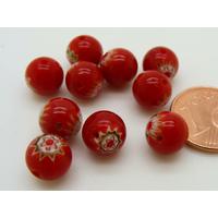 Perles verre Millefiori rondes 8mm Rouge fleur Rouge par 10 pcs