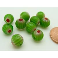 Perles verre Millefiori rondes 8mm Vert fleur Rouge par 10 pcs