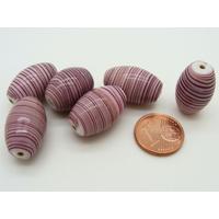 Perles verre Ovale 20mm Blanc volutes Violet par 6 pcs