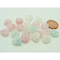 Perles verre Craquelé Coeur 10mm MIX couleurs par 20 pcs