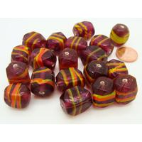 Lot 19 perles cubes violet verre lampwork PV-lot22