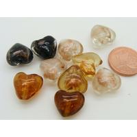 Lot 10 perles coeur verre touches dorées PV-lot25