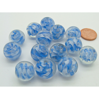 Lot 14 perles rondes 14mm environ bleu blanc transparent en verre lampwork PV-lot52