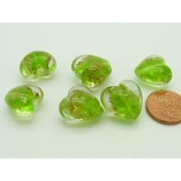 Perles verre COEUR 15mm Touches dorées VERT par 6 pcs