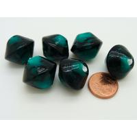 Perles bicones 18mm vert foncé motifs noirs verre par 6 pcs