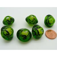 Perles bicones 18mm vert olive motifs noirs verre par 6 pcs