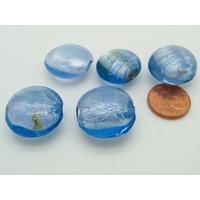 Lot 5 perles galets feuille argenté bleur verre PV-lot65