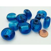 Lot 10 perles feuille argenté bleu verre PV-lot83
