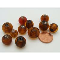 Lot 10 perles rondes feuille argenté marron verre PV-lot85