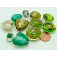 Lot 11 perles tons verts verre PV-lot87