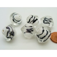Perles bicones 18mm transparent motifs noirs verre par 6 pcs