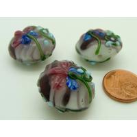 Perle verre Lampwork Galet 20mm Violet motif Fleur par 1 pc