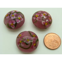 Perle verre Lampwork Galet 20mm Rose motif 5 Fleurs par face par 1 pc
