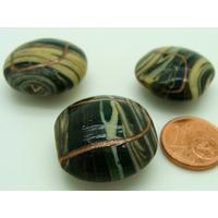 Perle verre Lampwork Galet 24mm Noir crème doré par 1 pc