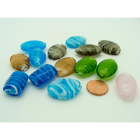 Lot 14 perles volutes blanches verre lampwork PV-lot133