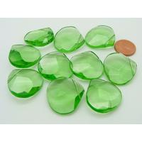 Lot 10 perles gouttes vertes 23mm verre facette PV-lot164