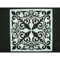 Pochoir 15x15cm motif 4 fleurs carreau de ciment Mod09