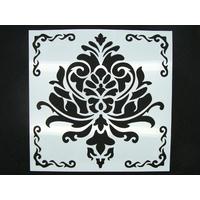 Pochoir 15x15cm motif grande fleur carreau de ciment Mod12