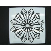 Pochoir 15x15cm motif grande fleur simple rosace carreau de ciment Mod14