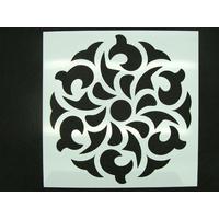Pochoir 15x15cm motif grande fleur stylisée carreau de ciment Mod16