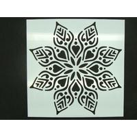 Pochoir 15x15cm motif grande fleur carreau de ciment Mod10