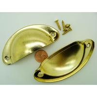 Poignées avec vis coquille métal couleur dorée 81mm par 2 pcs
