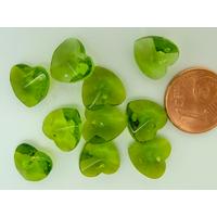 Breloques COEUR Verre facette 10mm Vert Olive par 10 pcs