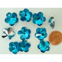Breloques Fleur Verre facette 13mm Bleu métallisé argenté par 10 pcs