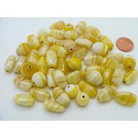 Mix Perles verre lampwork tons jaunes par 75 grammes