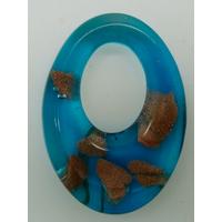Pendentif Bleu VERRE Ovale 48mm avec touches dorées
