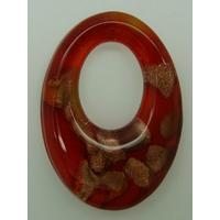 Pendentif Rouge VERRE Ovale 48mm avec touches dorées