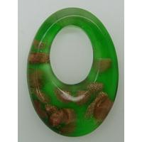 Pendentif Vert VERRE Ovale 48mm avec touches dorées