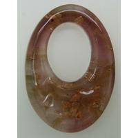 Pendentif Violet VERRE Ovale 48mm avec touches dorées