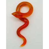 Pendentif Serpent Rouge Orangé 80mm animal en verre lampwork