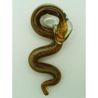 Pendentif Serpent doré rayures vertes 58mm animal en verre lampwork