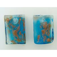 2 Mini-Pendentifs Rectangle 20mm Bleu avec touches dorées