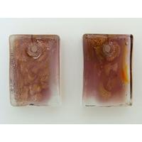2 Mini-Pendentifs Rectangle 20mm Violet avec touches dorées
