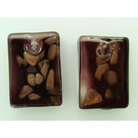 2 Mini-Pendentifs Rectangle 20mm Violet foncé avec touches dorées