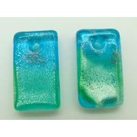 2 Mini-Pendentifs Rectangle 20mm Bleu et vert avec feuille argentée