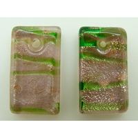 2 Mini-Pendentifs Rectangle 20mm Rose et vert avec feuille argentée