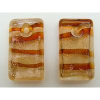 2 Mini-Pendentifs Rectangle 20mm marron avec feuille argentée