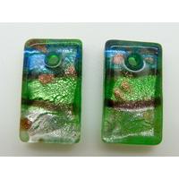 2 Mini-Pendentifs Rectangle tricolore 20mm bleu et vert  avec feuille argentée