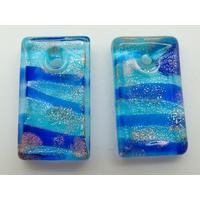 2 Mini-Pendentifs Rectangle 20mm bleu rayé avec feuille argentée