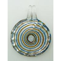 Pendentif Rond bord strié 35mm spirale marron bleu verre feuille argentée