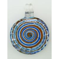 Pendentif Rond bord strié 35mm spirale bleu orange verre feuille argentée