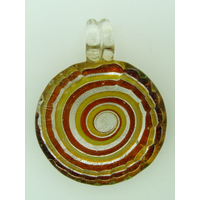Pendentif Rond bord strié 35mm spirale marron verre feuille argentée