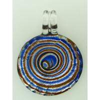 Pendentif Rond bord strié 35mm spirale bleu marron verre feuille argentée