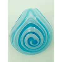 Pendentif Rond épais spirale bleu et blanc 50mm en verre
